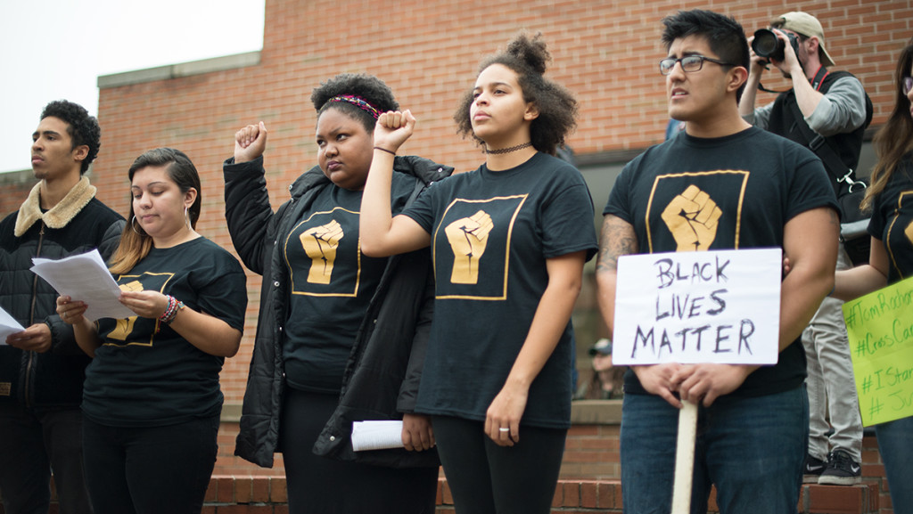 Members of POC at IC lead the demonstration Nov. 11. Tommy Battistelli/The Ithacan